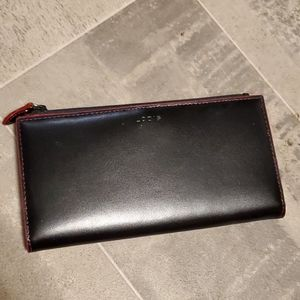 RFID Blk & Red Leather Lodis Wallet